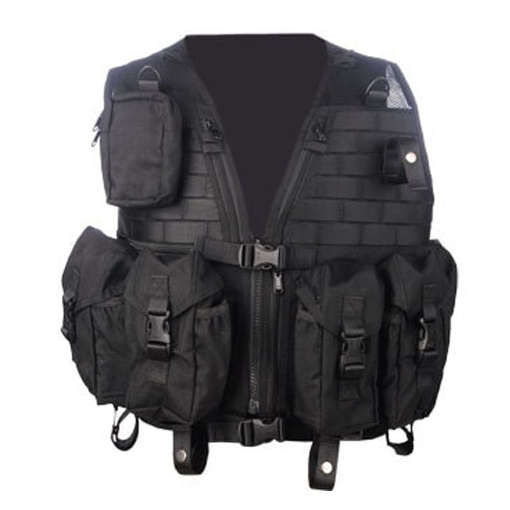 black tactical combat vest