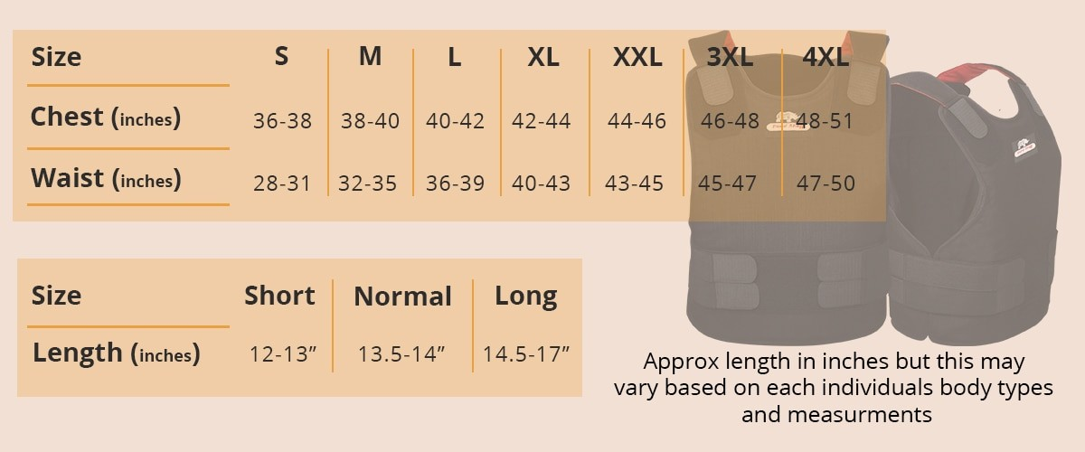 Body armor size chart by hardshell fze